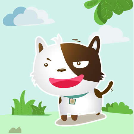 ittle dog smile in the forest Vector