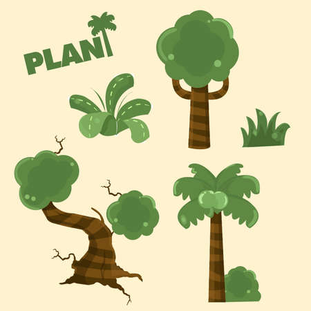 kiddy: collection wood plant cartoon
