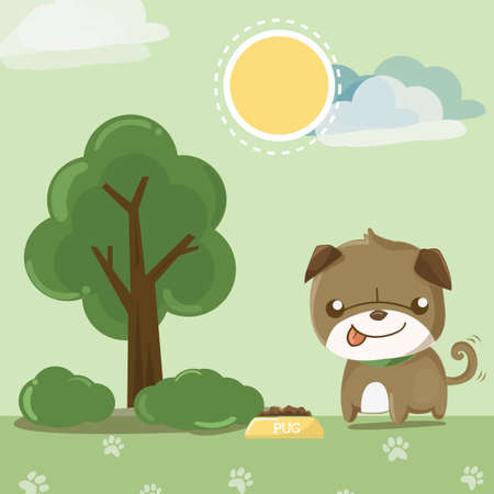 relieve: fun dog,pug smile in the garden
