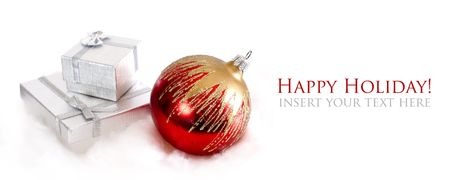 Christmas background with ball decoration and present Stock Photo - 6006030