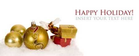 Christmas background with ball decoration and present photo