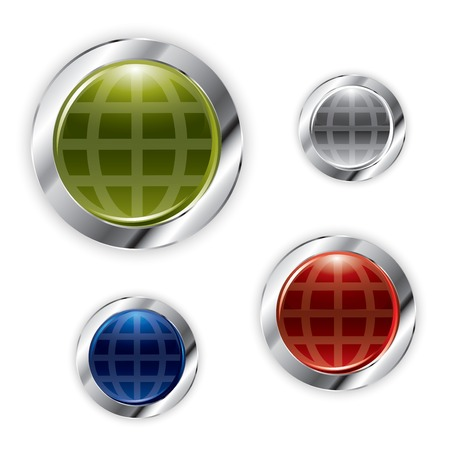 Shiny earth buttons in editable vector format Vector