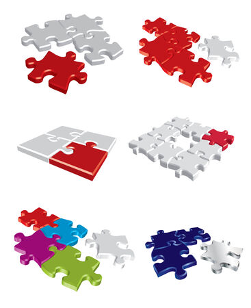 alone in crowd: Colorful puzzle concepts Illustration