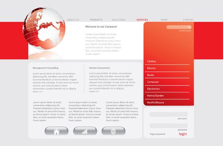Red website template in editable format Stock Photo - 7138840
