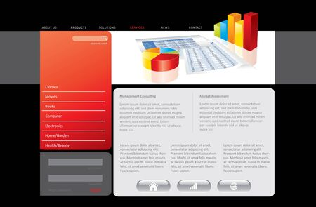Red website template in editable format Stock Photo - 7138841