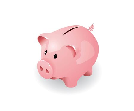 cartoon bank: Pink piggy bank in editable format