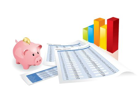 Pink piggy bank with chart and statistics  Stock Photo
