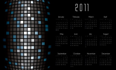 Calendar with futuristic background in editable format Vector
