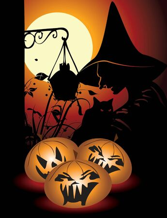 Halloween background with pumpkin and witch in editable   format Vector