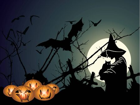 Halloween background with witch and pumpkin in editable   format Stock Vector - 7920577