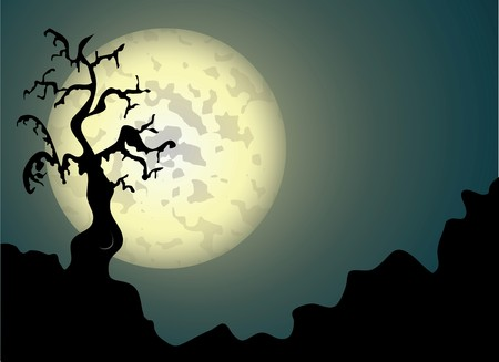 Halloween background with spooky tree in editable format