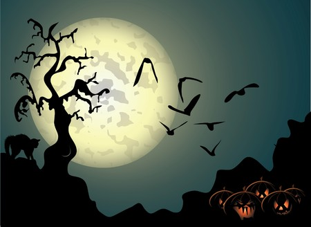 spooky tree: Halloween background with spooky tree and cat in editable   format