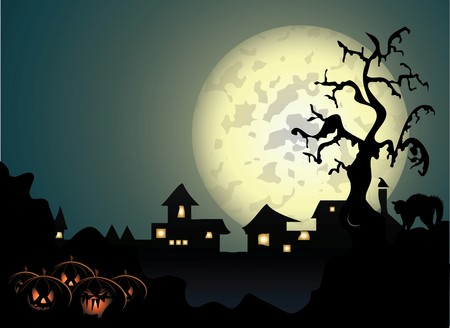 manor: Halloween background with spooky tree and cat in editable   format