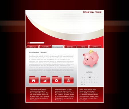 Red website template in editable  format Stock Vector - 7920630
