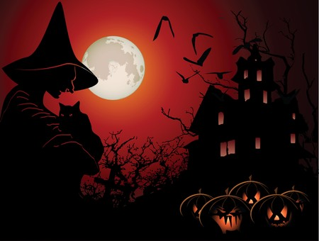 Halloween background with witch and hounted house