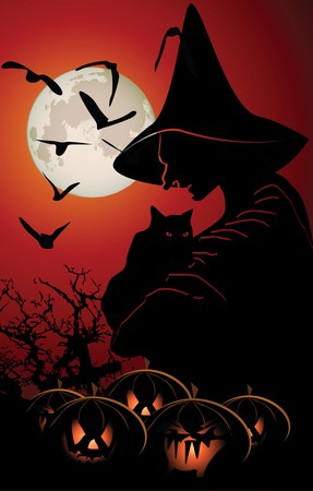 Halloween background with pumpkin and witch Stock Vector - 8171131