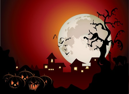 Halloween background with spooky tree and cat Vector
