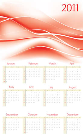 2011  calendar with red abstract background  photo