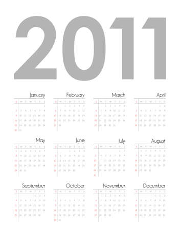 Calendar grid 2011 year english in editable format photo
