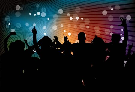 abstract dance: Club party with dancing people in editable format Stock Photo