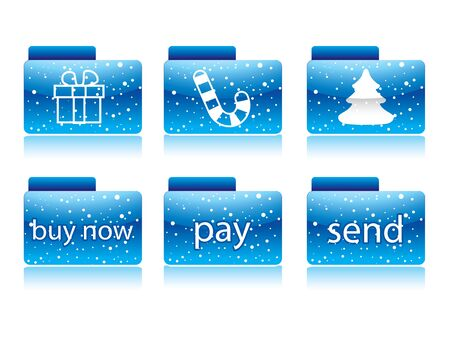 Blue christmas button for your website in editable format  Stock Photo - 8340115