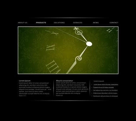 webpage: Passing time website template in editable vector format
