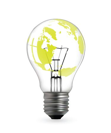 Light bulb with green earth map in vector format Stock Vector - 9368454