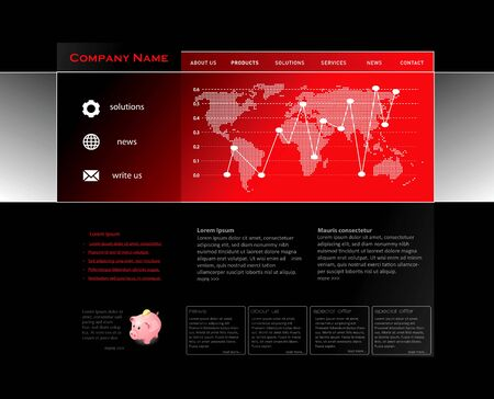 Red website template in editable vector format  Illustration