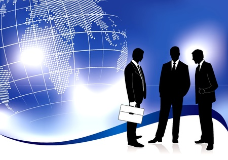 business meeting presentation: Global business meeting concept in editable vector format Illustration