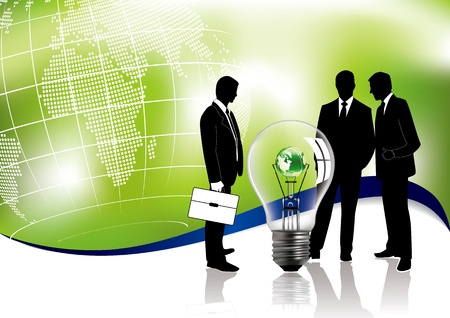 business environment: Business meeting concept about global ecology in editable vector format Illustration