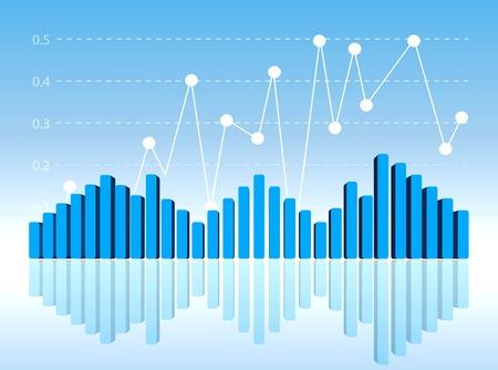 profit graph: Blue 3D diagram in perspective view. Editable vector format. Illustration