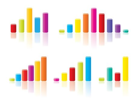 Colourful graph concepts in editable vector format. Stock Vector - 10401545