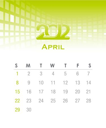 grren: Colorful monthly vector calendar for 2012 with abstract background