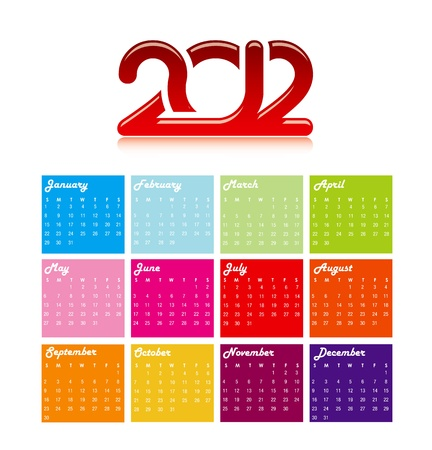 2012 yearly calendar in trendy similar colors Stock Photo - 10732019
