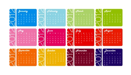 2012 yearly calendar in trendy colors for each month Stock Photo