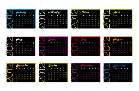 2012 yearly calendar in trendy colors for each month photo
