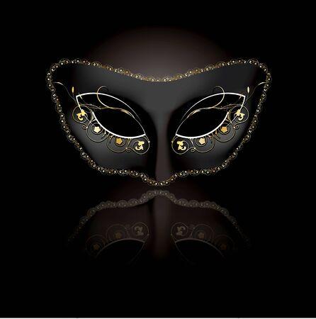 masquerade mask: Venetian mask with black background
