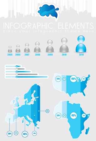 Colored Infographics with maps and charts Stock Photo - 10878260