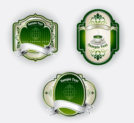 aristocratic: Green labels set in editable vector format  Stock Photo