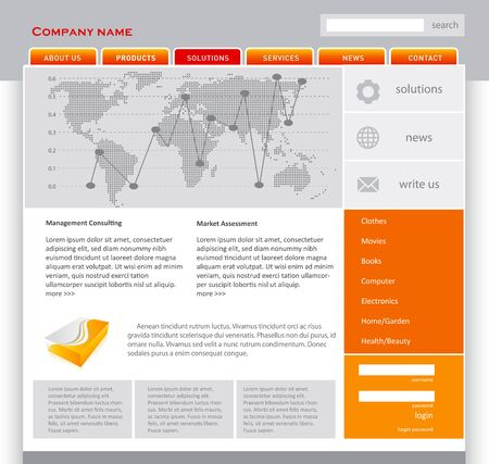 Orange webpage template in editable vector format Stock Photo - 11272307