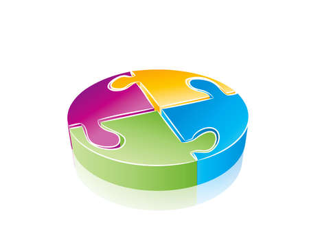 Round puzzle concept in editable vector format photo