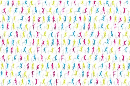действие: Цветные люди спорта в редактируемый формат векторной Иллюстрация