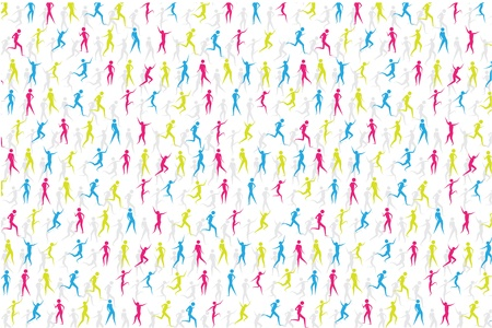 Colored sports people in editable vector format