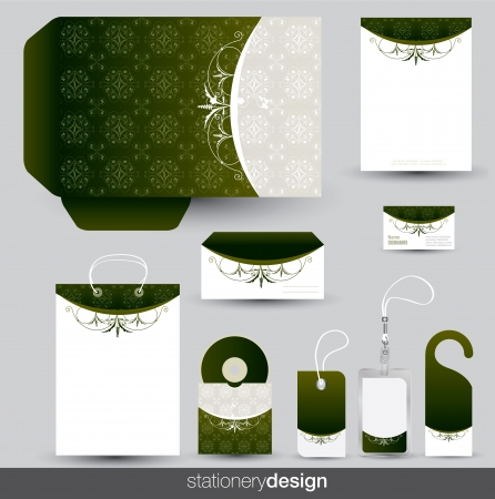 Stationery set design with vintage ornaments in vector format Illustration