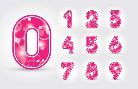 Colored numbers design in editable vector format
