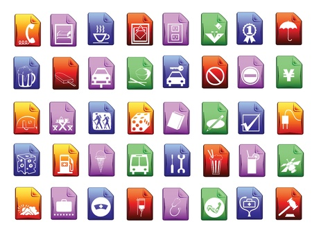 Colored icon set in editable vector format Stock Vector - 15116839