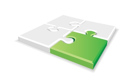 Green 3d puzzle in editable vector format