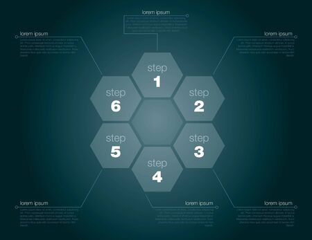 Six step succes concept in editable Vector