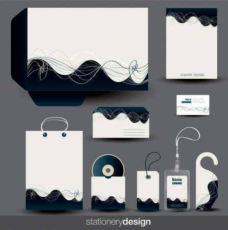 Stationery design set in editable format Vector