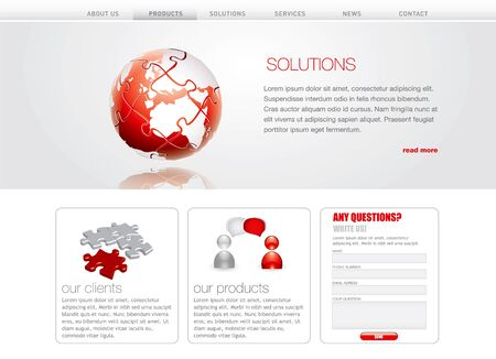 puzzle globe: Professional website template in editable format